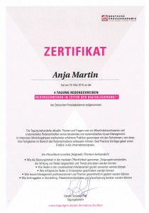 Zertifikat über die Teilnahme an der 4. Tagung Redenschreiben der Deutschen Presseakademie